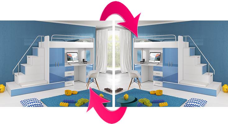 łóżko Piętrowe Raj 5 Dodatkowe Spanie Niebieski Połysk